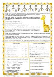 English Worksheets: Giraffes - Reading comprehension + 4 different exercises + fully editable
