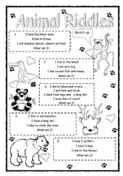 animal riddles worksheets. Black Bedroom Furniture Sets. Home Design Ideas