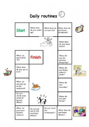 English Worksheet: Board game - Daily Routines / Days and times