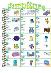 English teaching worksheets multiple choice for Furniture quiz questions