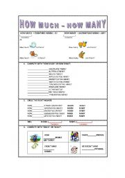 English Worksheets: HOW MUCH- HOW MANY(much and many)