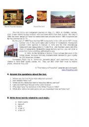 English Worksheet: Worksheet on Pizza Hut history