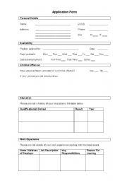 English Worksheet: Mock Application Form