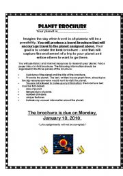 English Worksheets: Planet Brochure