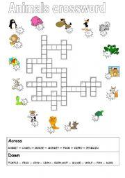 English Worksheets: basic animals crosword