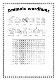 English Worksheets: ANIMALS WORDHUNT