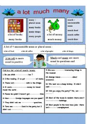 English Worksheet: a lot of much many