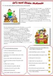English Worksheet: Let�s Meet Claire Mc Kenzie (Mixed Tenses with Key)