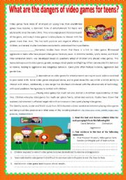 English Worksheet: Teens and video games