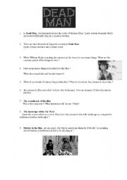 English Worksheets: Dead Man by Jim Jarmush : a worksheet to use after viewing the whole movie.