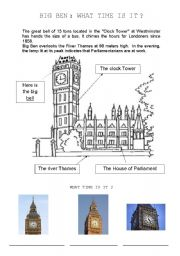 English Worksheet: Big Ben, what time is it ?