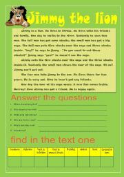 English Worksheets: jimmy the lion