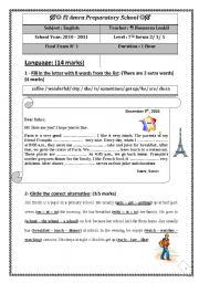 English Worksheets: English Test (1) 7th level (End of term (1) Reading, language, writing)