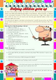 "Helping children grow up – reading comprehension + grammar (pronoun ""one"") [4 tasks] KEYS INCLUDED ((3 pages)) ***editable"