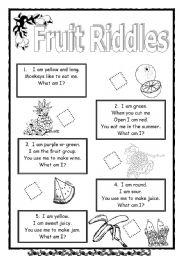 fruit riddles esl worksheet by saifonduan. Black Bedroom Furniture Sets. Home Design Ideas