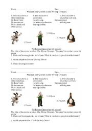 Wallace and Gromit in the Wrong Trousers Movie Worksheet