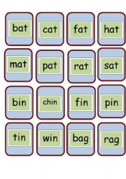 English Worksheets: cvc and rhyming words flashcards