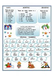English Worksheet: Days, Months, Seasons, Ordinal Numbers and Dates