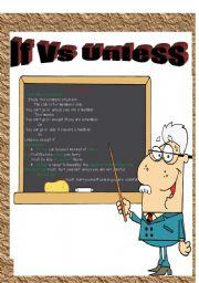 English Worksheet: If  Vs Unless