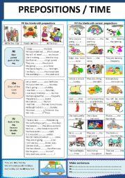 English Worksheet: PREPOSITIONS / TIME
