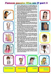 English Worksheet: Famous people: Who am I? part 3 (07.01.2011)