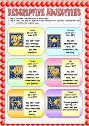 English Worksheet: Zodiac signs: descriptive adjectives!
