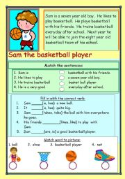 English Worksheet: Sam the basketball player