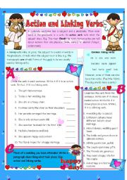 Action & Linking Verbs ****EDITABLE**** ANSWER KEY INCLUDED****