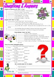 "English Worksheet: Questions & Answers – exercises with ""who / what / whose / why / when / which / how / how many / how much"" [5 different tasks] KEYS INCLUDED ((2 pages)) ***editable"