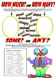 English Worksheet: HOW MUCH & HOW MANY + SOME & ANY