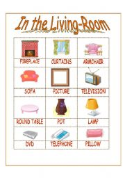 Living Room Vocabulary worksheet: in the living-room vocabulary