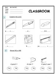 ESL kids worksheets: Classroom Objects - Complete the words