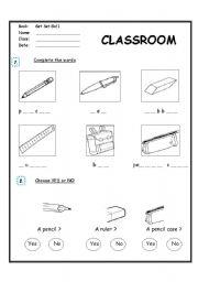 classroom objects complete the words esl worksheet by bbtl. Black Bedroom Furniture Sets. Home Design Ideas