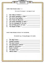 English Worksheet:  APOSTROPHES � POSSESSION