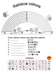 English Worksheet: Rainbow colours cryptogram