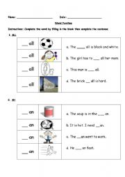 English Worksheet: Word Families - �_at,� �_all,� �_an�