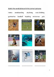 English Worksheet: Sports and Equipment