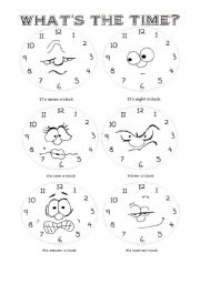 English Worksheet: what�s the time? O�clock