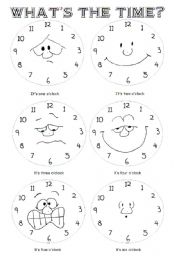 English Worksheet: what�s the time? Part 1 o�clock