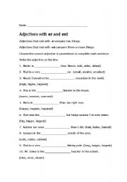 English worksheets: Adjectives that compare