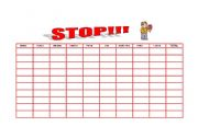 English Worksheet: STOP AND HANGMAN GAMES(2 PAGES)