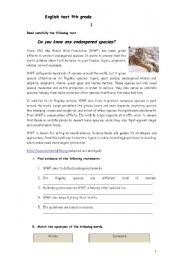 English Worksheet: english test /worksheet about endangered species