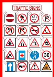 TRAFFIC SIGNS: Picture Dictionary. Match the signs with their meaning. With BLACK AND WHITE version and ANSWER KEY.