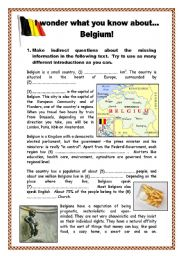 English Worksheets: I wonder what you know about... Belgium! - with key