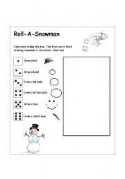 English Worksheet: Roll-A-Snowman