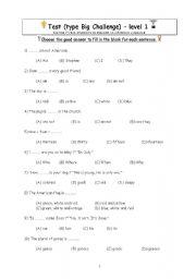test of general knowledge type Big Challenge level 1 - ESL worksheet