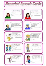 English Worksheets: Reported Speech Speaking Cards