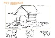 English Worksheets: Pet animals to color (2)