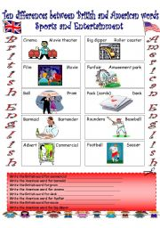 English Worksheet: British English vs. American English (1)...Sports and Entertainment