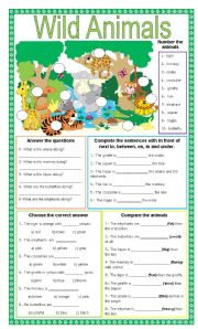 English worksheet: Wild animals + 5 different exercises + present ...